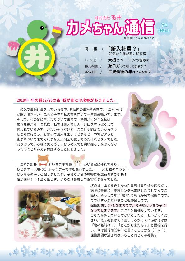 亀ちゃん通信 2019.冬 第7号